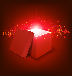 red gift box on gradient background vector image