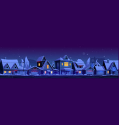 residential houses with christmas decoration vector image