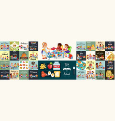School dinner colorful set composition of posters vector