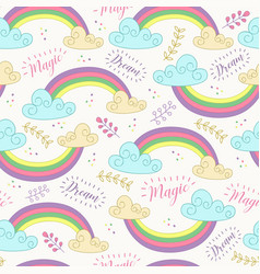 seamless pattern with cute rainbow vector image
