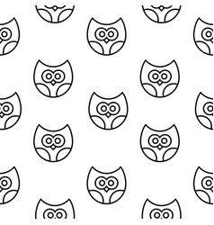 seamless pattern with owls in line style vector image