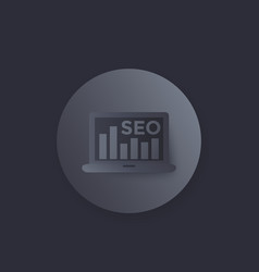 seo icon with laptop and bar graph vector image