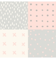 set 4 hand drawn cute seamless patterns vector image