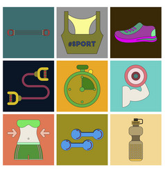 Set of icons in flat design fitness equipment vector