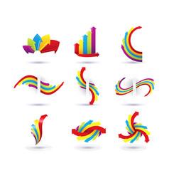 set of minimal arrow multicolor symbol set and vector image
