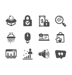 Set technology icons such as scroll down vector