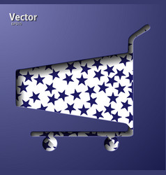 Side view empty supermarket shopping cart vector