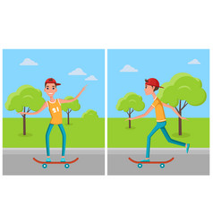 skateboarding set cartoon characters skateboarders vector image