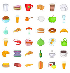 small cafe icons set cartoon style vector image