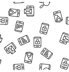 smartphone app function seamless pattern vector image