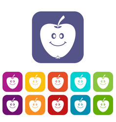 smiling apple icons set flat vector image