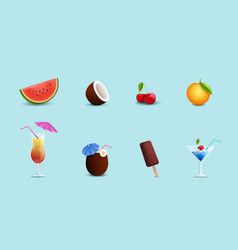 summer food drinks set vector image