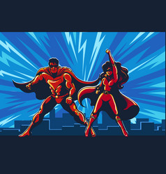 superhero couple staying on rowith city vector image
