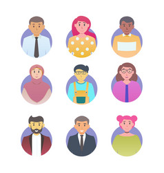 User avatar set flat color style different vector