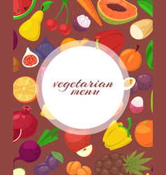 vegeterian and vegan menu poster with tropical vector image