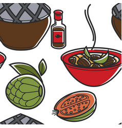 Vietnamese cuisine or food dishes and fruits vector