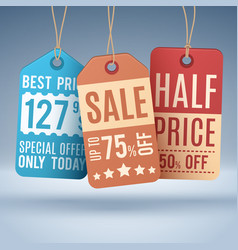 vintage hanging price tags or sale labels vector image