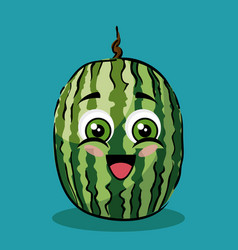 Watermelon fruit comic characters vector