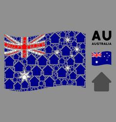 waving australia flag composition cabin items vector image
