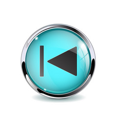 Web button rewind blue glass 3d icon with metal vector
