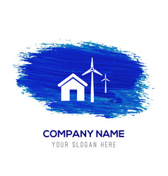 Windturbines icon - blue watercolor background vector