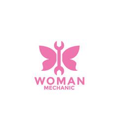 Woman mechanic logo design vector