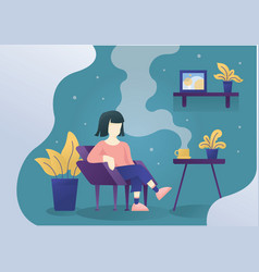 women sitting on chair with coffee on table with vector image