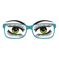 womens green eyes with glasses vector image
