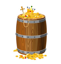 wooden barrel with treasures gold and precious vector image