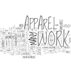 Work apparel text word cloud concept vector