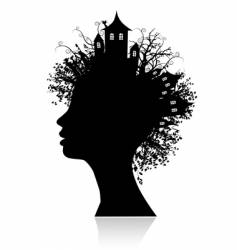 environment thinking silhouette vector image vector image