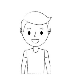 happy cartoon boy young character portrait vector image