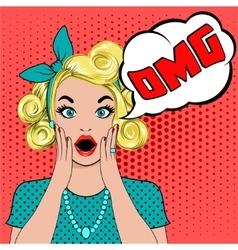 OMG bubble pop art surprised blond woman vector image