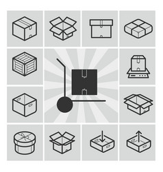package icons set with boxes crates vector image