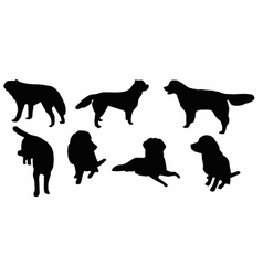 Set of dogs silhouette isolated vector image
