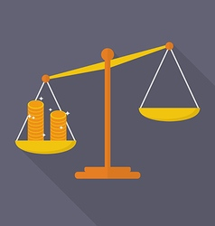 Balance scale with coin vector image vector image