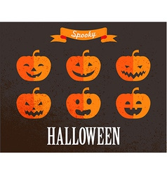 Halloween cute set of pumpkin icons vector image vector image