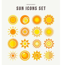 Simple sun icon set summer concept vector image vector image
