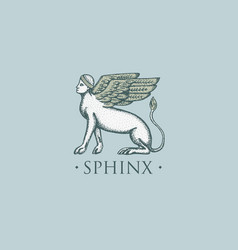 sphinx logo ancient greece antique symbol vintage vector image