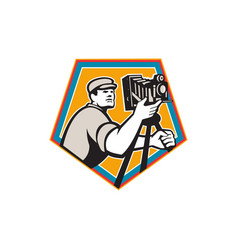 cameraman vintage movie film camera crest retro vector image vector image