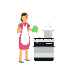 cartoon character of housewife in apron standing vector image
