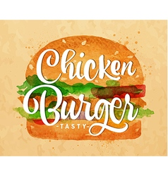 Chiken burger kraft vector image vector image