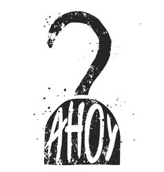 Ahoy typographic poster with pirate hook silhouett vector image