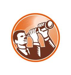 Businessman holding looking telescope woodcut vector