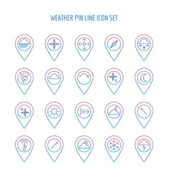 colorful weather line pin collection vector image vector image