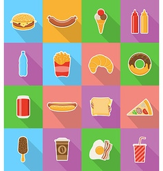 fast food flat icons 18 vector image