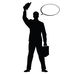 Hello businessman hat gesture black silhouette vector image vector image