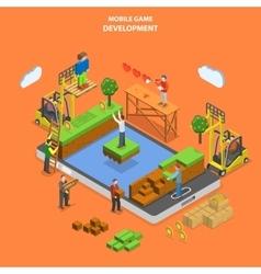 Mobile game development flat isometric vector image