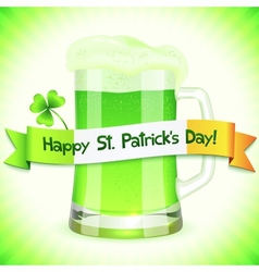 Patricks Day card with pint of green beer vector image vector image