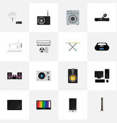 set of 16 editable tech icons includes symbols vector image